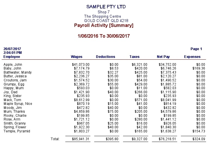 payroll activity summary sample business for sale qld